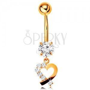 Złoty 14K piercing do pępka - kontur serduszka z bezbarwną cyrkoniową połówką obraz