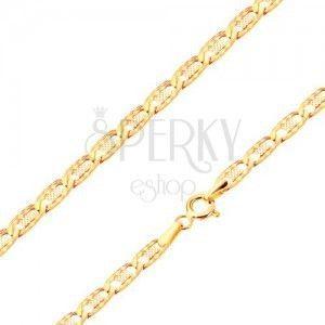 Złota bransoletka 585 - płaskie podłużne ponacinane ogniwa, kratka, 190 mm obraz