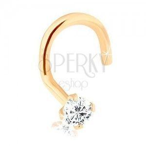 Piercing do nosa z 9K złota, zagięty z błyszczącym diamentem, 1, 5 mm obraz