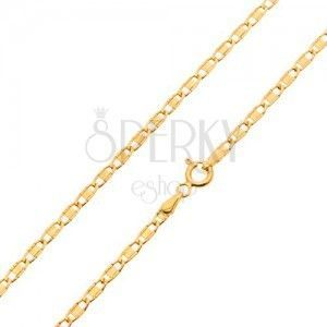 Łańcuszek z żółtego 14K złota, błyszczące owalne ogniwa z gładkim prostokątem, 450 mm obraz