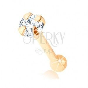 Piercing do nosa z żółtego 9K złota - prosty kształt, okrągła bezbarwna cyrkonia, 1, 5 mm obraz