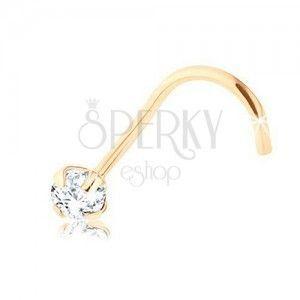 Brylantowy piercing do nosa z żółtego 9K złota, bezbarwny diament, 2, 5 mm obraz