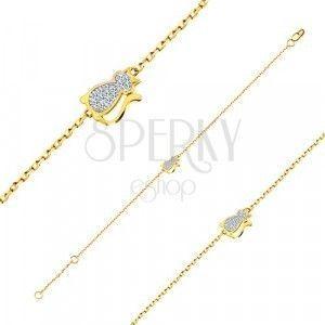 Bransoletka w połączeniu złota 585 - kot z cyrkoniami, cienki łańcuszek obraz