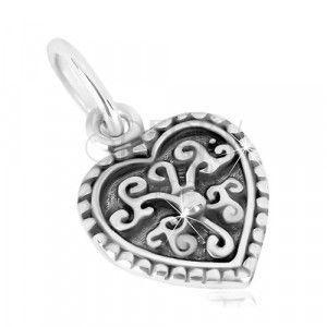 Przywieszka ze srebra 925 - symetryczne serduszko, zdobiony kwiatek z kuleczką, patyna obraz