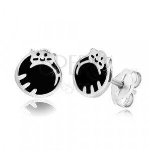 Srebrne 925 kolczyki - kotek zwinięty w kłębek, czarna emalia, sztyft obraz