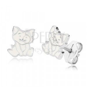 Srebrne 925 kolczyki - siedzący kotek, szczegółowy kontur i szkliwo białej barwy obraz
