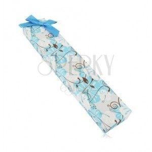 Pudełeczko prezentowe na łańcuszek lub bransoletkę - hibiskus, niebieska kokardka obraz
