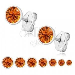 Srebrne 925 kolczyki - błyszcząca miodowo-pomarańczowa cyrkonia w uchwycie, sztyft obraz
