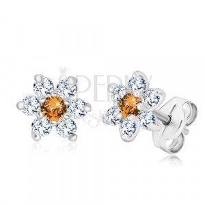 Srebrne 925 kolczyki - błyszczący kwiat z miodowo-pomarańczowym środkiem obraz