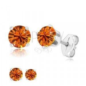 Srebrne 925 kolczyki - okrągła cyrkonia w miodowo-pomarańczowym kolorze obraz