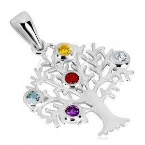 Srebrna 925 przywieszka - drzewo życia, rozgałęzione konary, kolorowe cyrkonie obraz