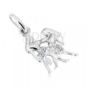 Zawieszka ze srebra 925 - długowłose bliźniaki z cyrkoniami, znak Bliźnięta obraz