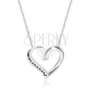 """Srebrny 925 naszyjnik - wstążka zwinięta w serce, """"Forever in my heart"""" obraz"""