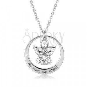 Srebrny 925 naszyjnik - kontur koła, anioł z ozdobami, napis obraz