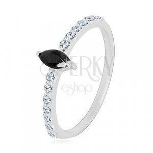 Srebrny 925 pierścionek - wąskie ramiona, cyrkonia w czarnym kolorze w kształcie ziarenka, czyste cyrkonie obraz