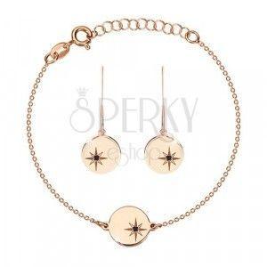 Srebrny 925 zestaw, różowo-złoty kolor - bransoletka i kolczyki, kółko z Gwiazdą Polarną, czarny diament obraz