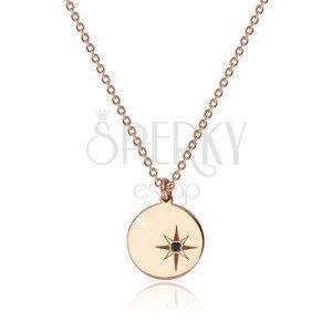 Srebrny 925 naszyjnik w różowo-złotym kolorze - lśniące kółko, gwiazda północna, czarny diament obraz