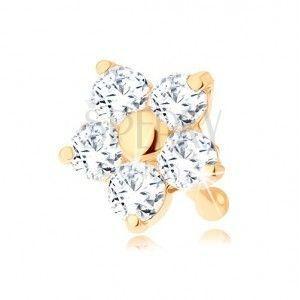 Złoty piercing do nosa 585 - prosty, błyszczący kwiatek z przejrzystych cyrkonii obraz