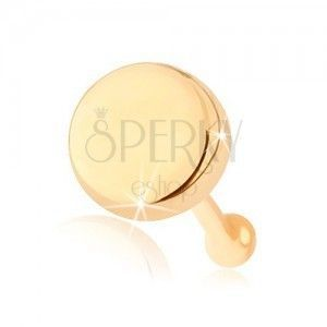 Prosty piercing do nosa z żółtego 14K złota - płaskie lśniące kółko obraz