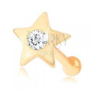 Prosty piercing do nosa z żółtego 14K złota - mała lśniąca gwiazdeczka z cyrkonią obraz