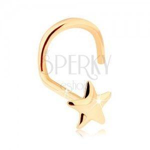 Złoty piercing do nosa 585 - lśniąca pięcioramienna gwiazdeczka obraz