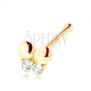 Złoty piercing do nosa 585, prosty - motylek ozdobiony przejrzystymi cyrkoniami obraz