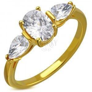 Stalowy pierścionek w złotym kolorze - bezbarwne błyszczące cyrkonie, cyrkoniowe łezki obraz