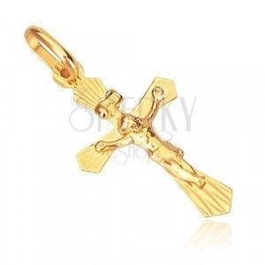 Złoty wisiorek 585 - krzyżyk o ściętych ramionach z Chrystusem obraz