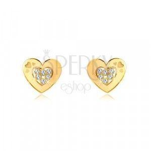 Kolczyki z żółtego 14K złota - zarys serca z cyrkoniami na środku, sztyfty obraz