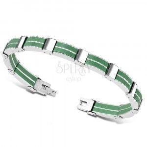 dwukolorwa stalowa bransoletka - wiele połączeń, zielone gumowe paski obraz