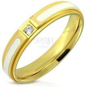 Stalowy pierścionek - błyszcząca powierzchnia o złotym kolorze, biała emalia i cyrkonia, 4 mm obraz