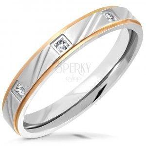 Dwukolory stalowy pierścionek - matowy pasek z nacięciami, fazowane krawędzie, cyrkonie, 3, 5 mm obraz