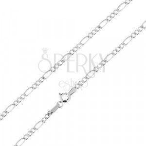 Łańcuszek z białego 585 złota, wzór Figaro - trzy owalnei jedno podłużne oczko, 450 mm obraz
