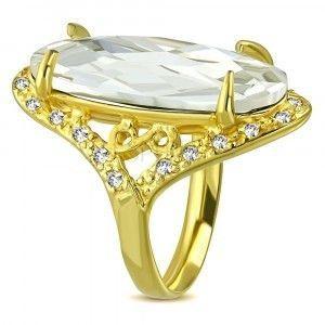Masywny stalowy pierścionek o złotym kolorze - bezbarwna przycinana cyrkonia, symbol nieskonczoności obraz