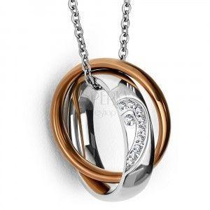 Przywieszka ze stali nierdzewnej - obrączka z przepołowionym sercem i cyrkoniami, dwukolorowy miedziany pierścień obraz
