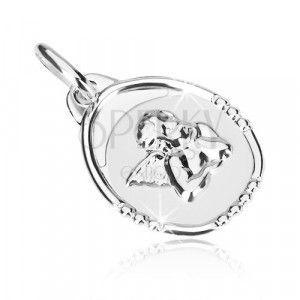 Przywieszka z białego złota - medalik z zamyślonym aniołkiem obraz