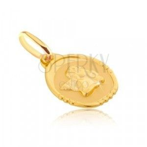 Złoty wisiorek 585 - owalna płytka z pulchnym aniołkiem obraz
