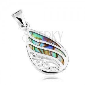 Srebrny wisiorek 925, kropla - muszla Paua, faliste lśniące linie i spirale obraz