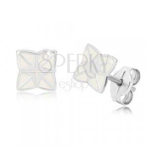 Srebrne 925 kolczyki - czteroramienna gwiazda z krzyżem pośrodku, biała emalia obraz