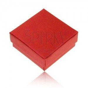 Pudełeczko prezentowe na pierścionek i kolczyki, perłowy czerwony kolor obraz