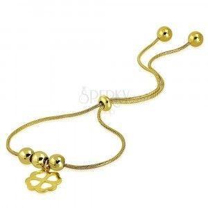 Stalowa bransoletka złotego koloru - koniczynka na szczęście, kulki, wzór skóry węża obraz