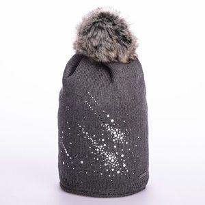Zimowa czapka z pomponem i brokatem - różowa - Rozmiar uni obraz