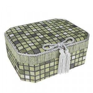Dwupoziomowa szkatułka, zielone kwadraciki i szara lśniąca kokardka obraz