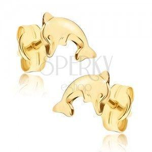 Lśniące wkrętki w żółtym złocie - skaczący delfinek obraz