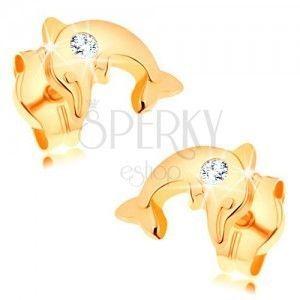 Kolczyki z żółtego 14K złota - lśniący delfin w skoku, przezroczysta cyrkonia obraz