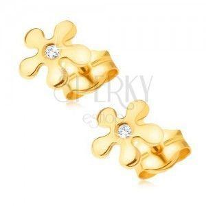 Złote kolczyki 585 - lśniący kwiatek z bezbarwnym okrągłym diamentem obraz
