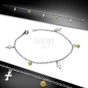 Stalowa bransoletka - łańcuszek z owalnych oczek, liliowe krzyże i kuleczki w złotym kolorze obraz