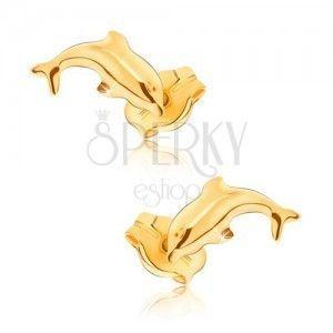 Kolczyki z żółtego 9K złota - błyszczące skaczące delfiny obraz