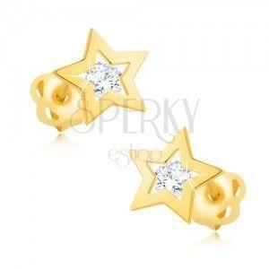 Kolczyki z żółtego 9K złota - błyszczący kontur gwiazdki, przeźroczysta cyrkonia obraz