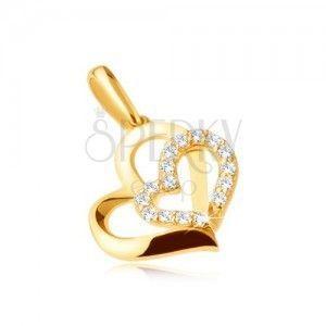 Złota zawieszka 375 - dwa asymetryczne kontury serc, kamyczki obraz
